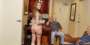 Hot teen banged by two old guys