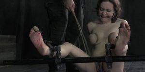 Busty tied down sub soles wax play