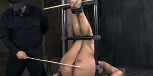 Fetish bondage bounded sub caned