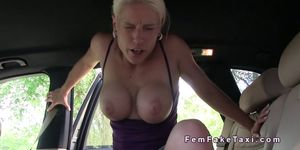 Amateur guy bangs busty taxi driver pov in public