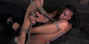 Tied up bdsm bondage ebony sub teased