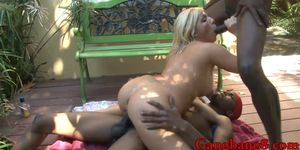 Big tits blonde Heidi Hollywood double stuffed outdoors