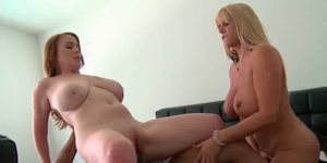 Two huge titted MILFs in 3some with black stud
