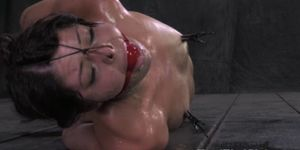 Drooling sub hogtied by dom