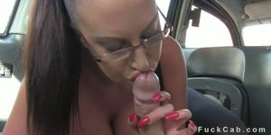 Monster tits British amateur in fake taxi gives titsjob