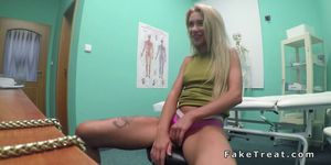 Small tits European blonde bangs doctor