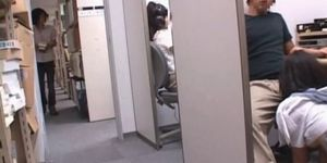 Teen asian nympho jumping and sucking dick at work