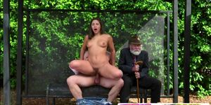 Slutty Abella sucked and rides a big dick in the statio