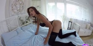Sexy Paula Shy in lingerie hot VR solo porn