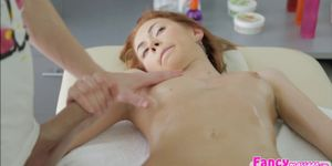 Redhead Camila gets bang in doggy style by dudes big co