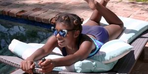 Hot ebony Daizy Cooper fucked beside the pool