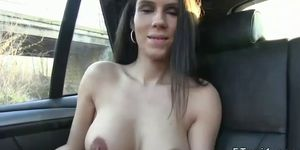 Huge tits amateur banging in fake taxi in public