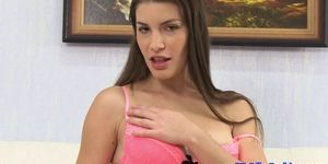 Euro blowjob babe receives facial