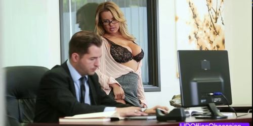 Horny blonde secretary rides a bigcock