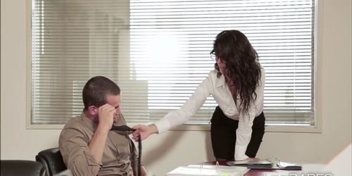 Hot babe Alexa fucks the boss boyfriend at the office