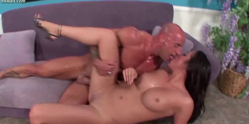 Ebony chick getting jizzload in mouth