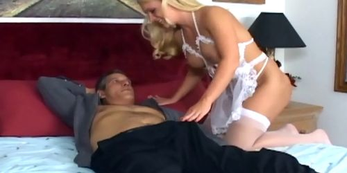Nurse with big tits fucking in white lingerie