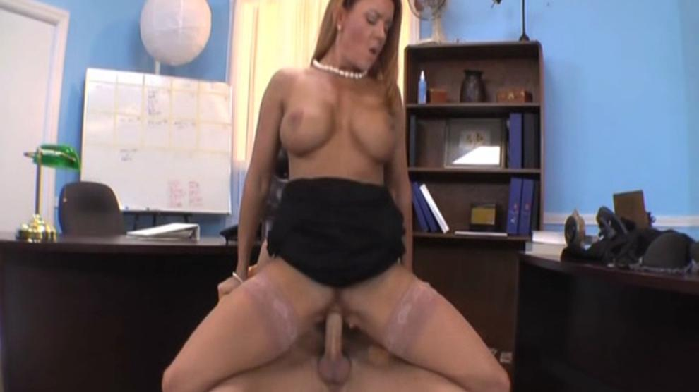 Mature redhead Janet Mason fucked in office