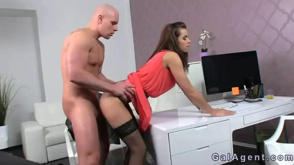 Muscled guy fucking female agent on casting