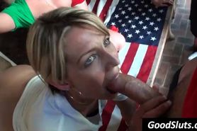 cheerleader blowjob in public