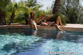 Brunette starts exploring a girls body during sunbathin