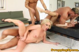 Cum swap Leona and Nora love three cocks