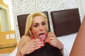 Blonde TS Samanta Paganelli jerking off and cumming on