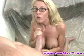 Mature amateur in glasses handjob for cumshot