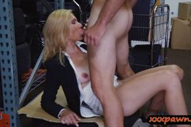Blonde MILF agrees to have sex in the pawnshop to earn