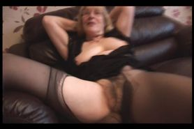 Busty blonde granny rips pantyhose to show off hairy pu