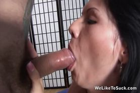 Rosy swallows a fresh load of cum