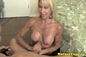 Granny wanking lover toys with cock