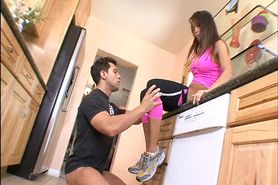 Sporty woman fucks with a  trainer