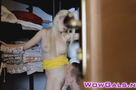 Sexy blonde getting sprayed with hot jizz