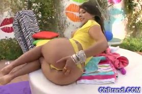 Very sexy brunette pounded in her round ass