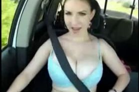 Huge boobs car flashing with safety belt