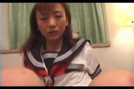 Petite jap girl in school uniform taking cock hard and