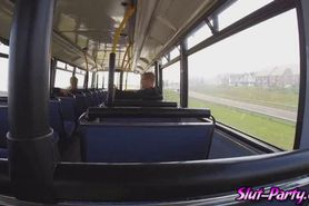 Watch this threesome banging in the passengers bus