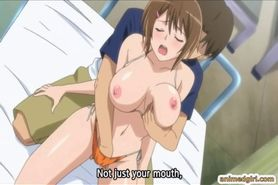 Japanese hentai gets squeezed her bigboobs and poked he