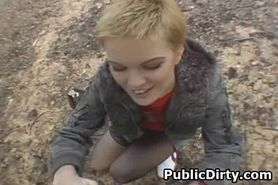 Short Haired Blonde On Knees Sucking Dick Outdoors In P