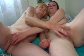 Small and cute Granny baths and done masturbates with y