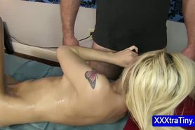 Small tits blonde sucks cock