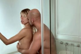 Hot blonde mom fucking in shower by huge dick
