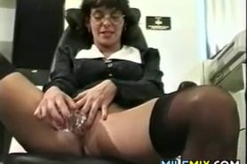 Mature Woman Masturbating In Her Office