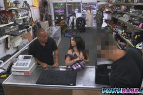 Latina chick walk away the pawnshop very satisfied with
