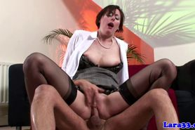 Stockings British mature spanked and drilled