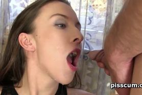 Tramp blowing horny cock and pissing in her torn pantyh