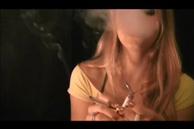 Hot blonde smoking three at once
