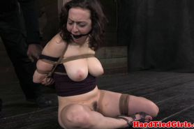 Maledom busty sub nipple clamped and caned