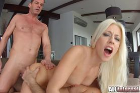 Allinternal sexy blonde in creampie threesome fun